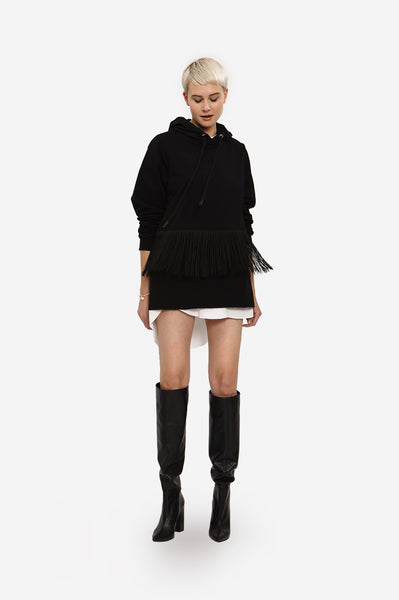 Leeda: sweatshirt - COLORBLOCK SWEATSHIRT WITH FRINGE
