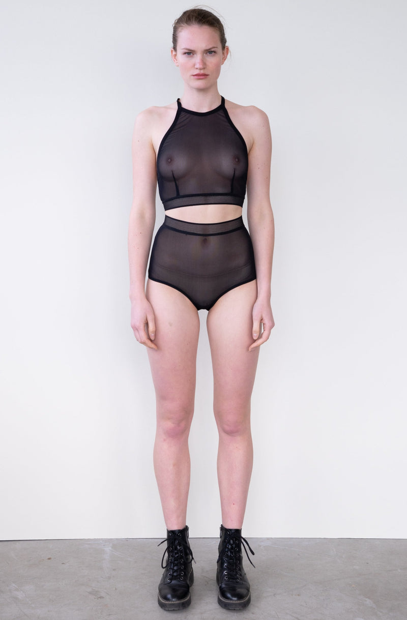 Leeda: bra - CLARA CROP TOP IN BLACK MESH