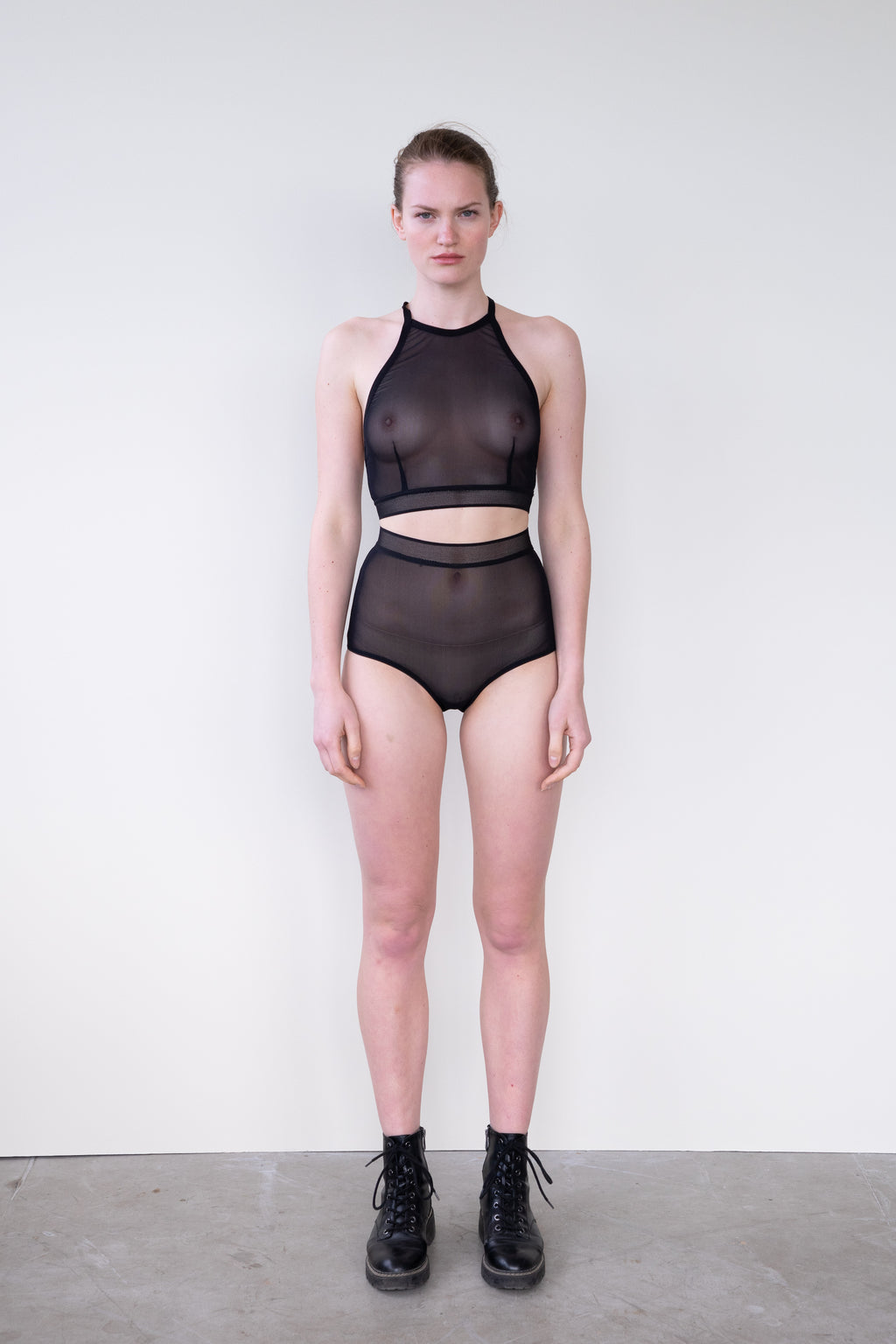 Leeda: brief - HIGH WAISTED BRIEF IN BLACK MESH