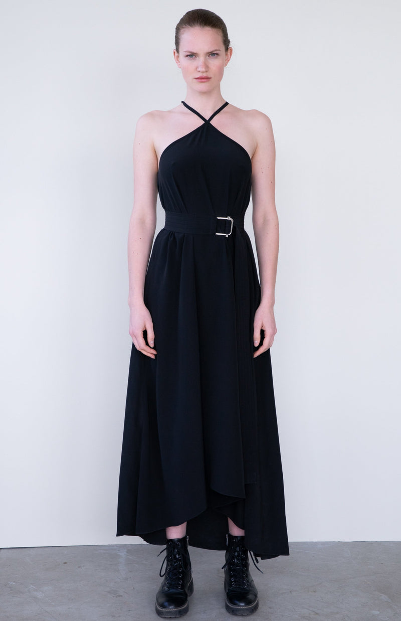 Leeda: dress - SILK DRESS WITH BELT