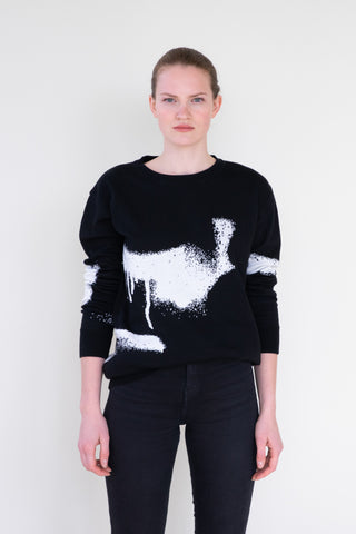 "SWEATSHIRT ""FLOWING"" IN BLACK"