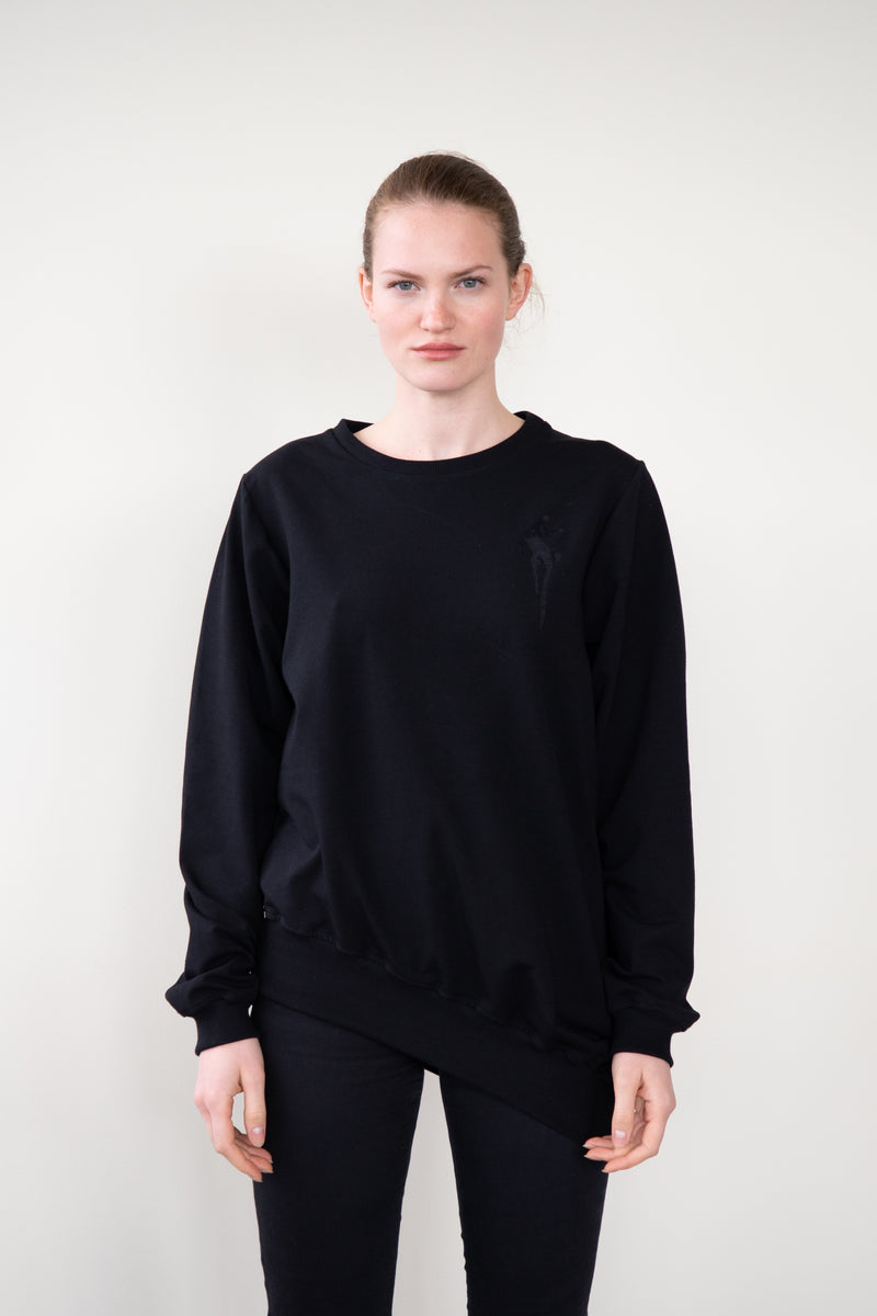 "Leeda: sweatshirt - SWEATSHIRT ""FLOWING"" IN BLACK"