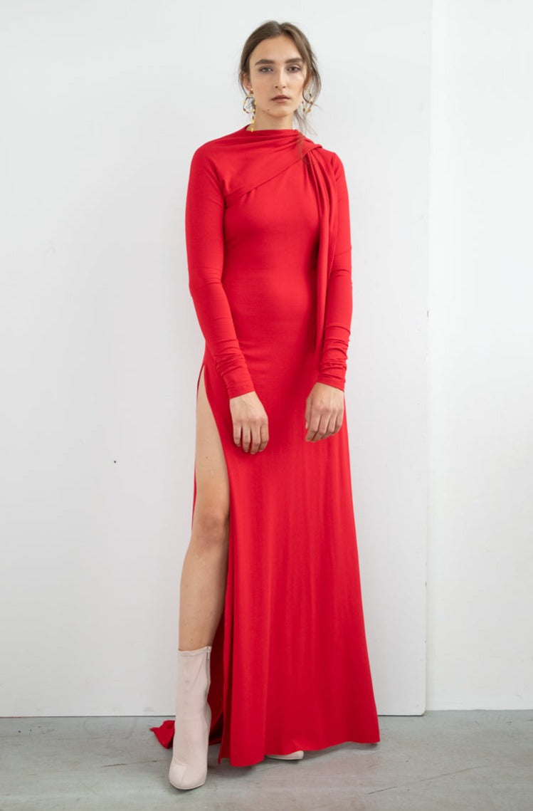 TIE WRAP MAXI DRESS TOUCH ME RED