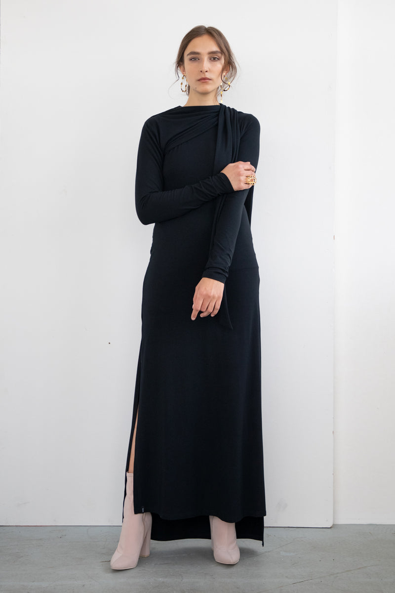 TIE WRAP DRESS BLACK