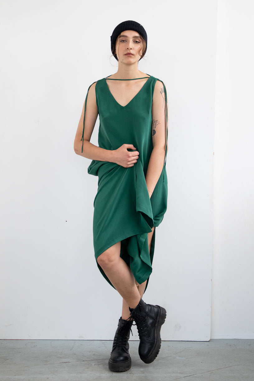 V-NECK SILK DRESS