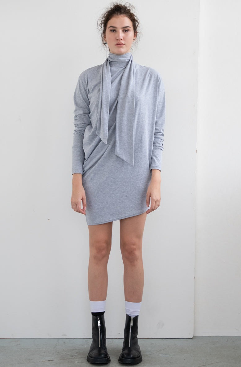 ASYMMETRIC TIE DRESS WITH LONG SLEEVE