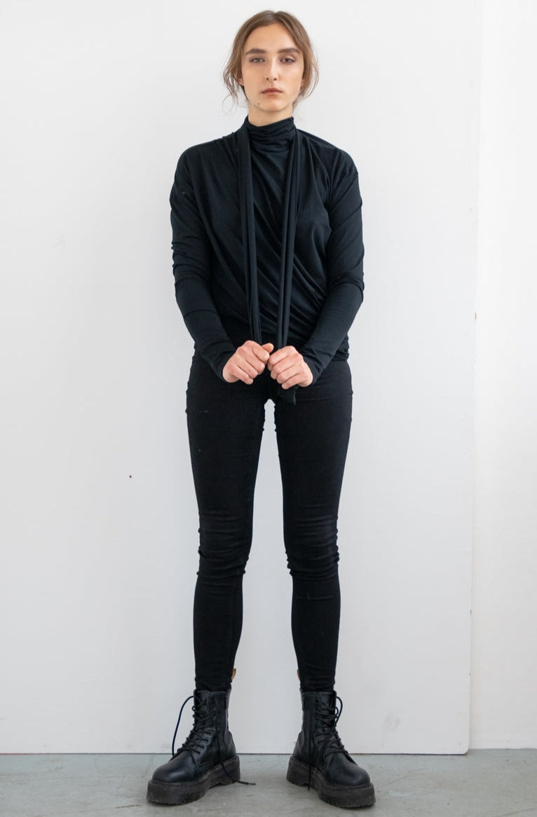 ASYMMETRIC TIE TOP WITH LONG SLEEVE