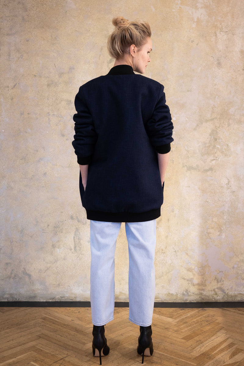 Leeda: coat - LONG WOOL BOMBER
