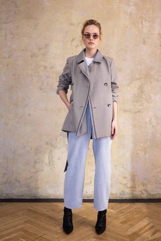 BLUE TRENCH COAT WITH BELT