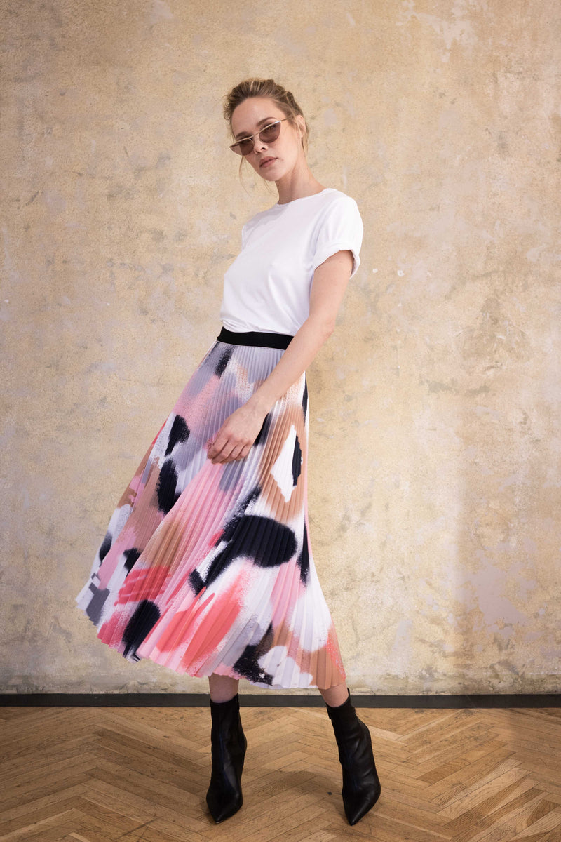Leeda: skirt - MIDI PLEATED SKIRT