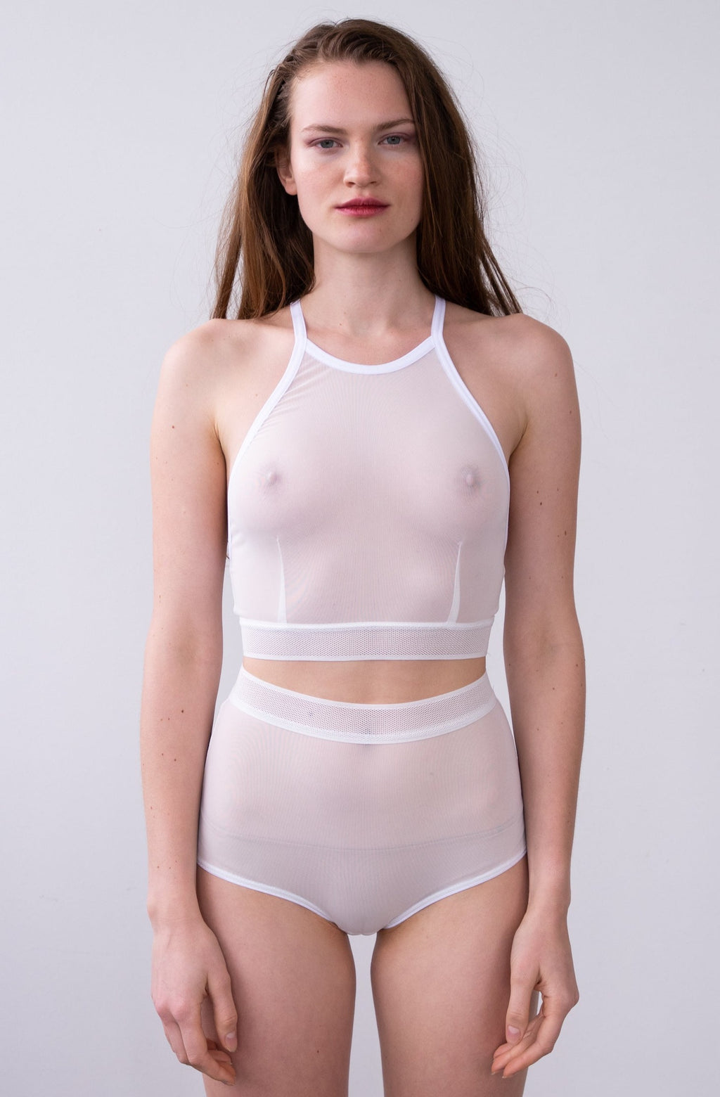 Leeda: bra - CLARA CROP TOP IN WHITE MESH