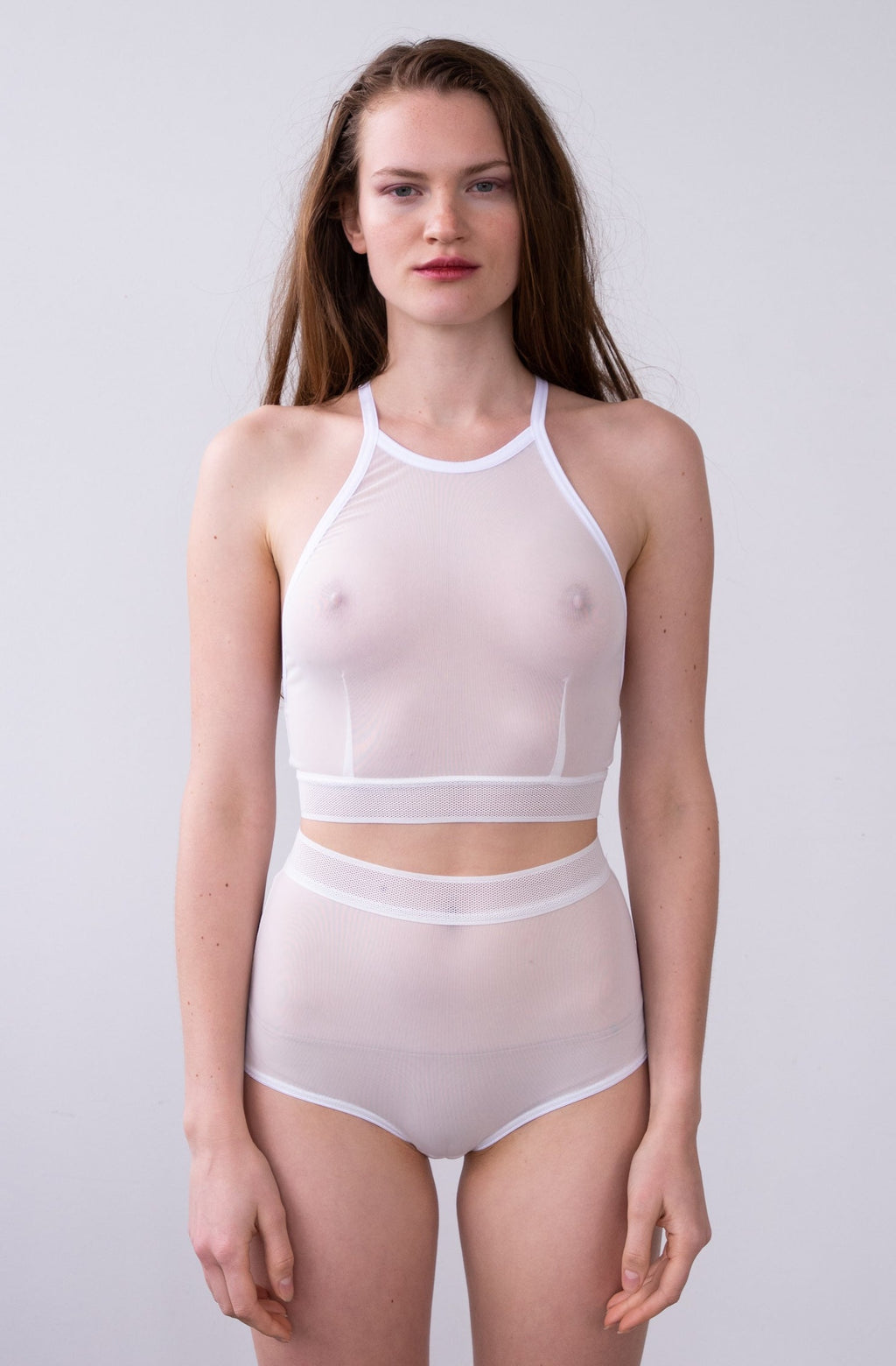 Leeda: brief - HIGH WAISTED BRIEF IN WHITE MESH