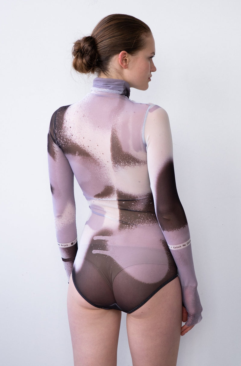 Leeda: bodysuit - SHEER BODYSUIT IN B&W