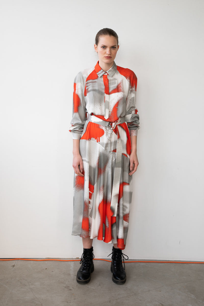 "Leeda: dress - SHIRT DRESS ""RED"""