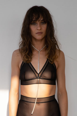 CLARA CROP TOP IN BLACK MESH