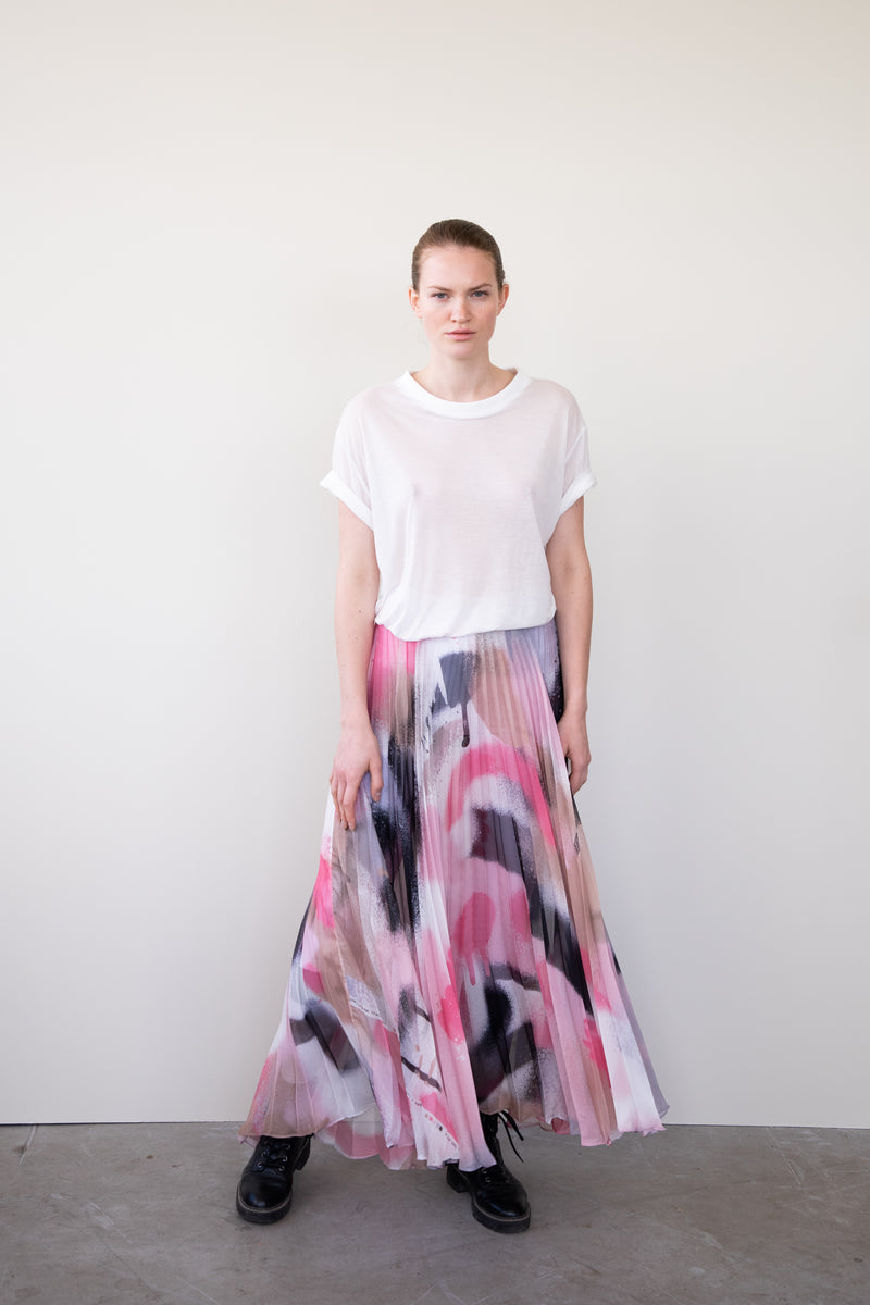 Leeda: skirt - LONG PLEATED SKIRT CATCH ME PINK
