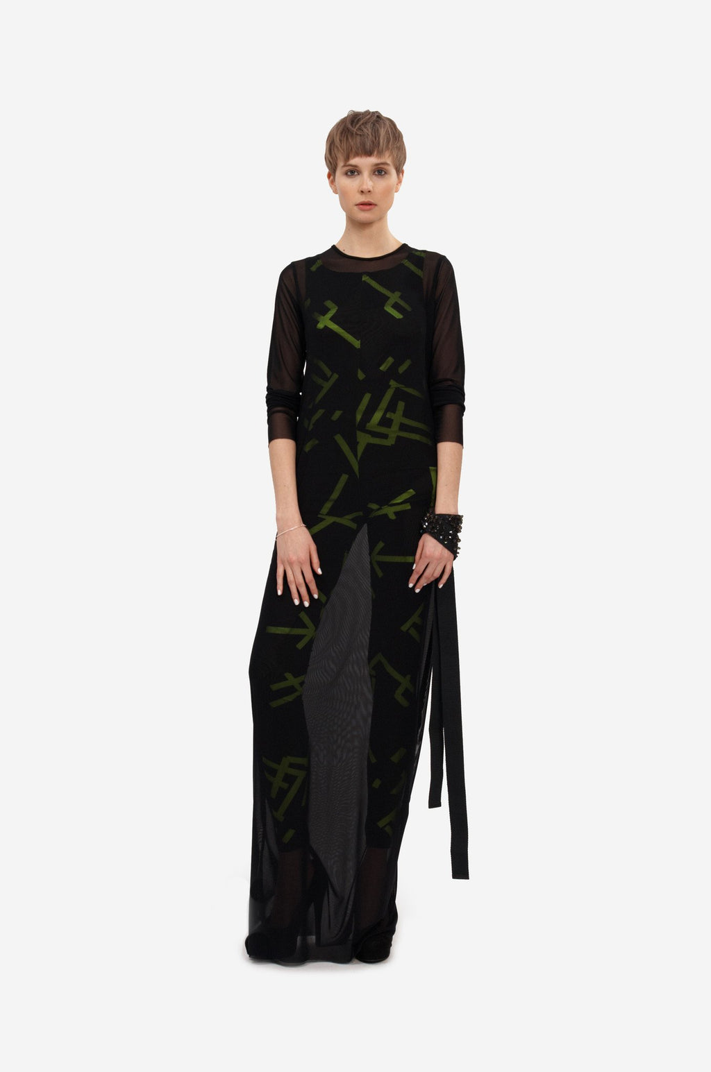 Leeda: dress - LONG TRANSPARENT DRESS
