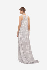 Leeda: dress - MAXI DRESS WHITE PRINT