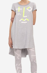 A-Line dress with short sleeves and original print resembling human face