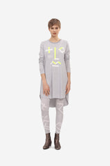 A-Line dress with long sleeves and original print resembling human face