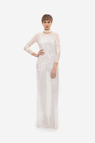 Long transparent dress with tight fitting long sleeves.