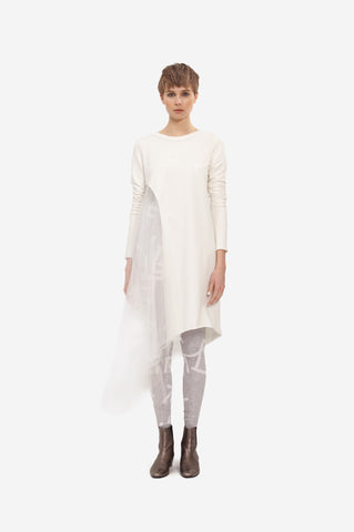 SILK DRESS FLOWING WITH SLEEVES