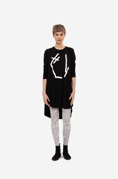 "Leeda: dress - DRESS ""ABSTRACT"" WITH LONG SLEEVES"