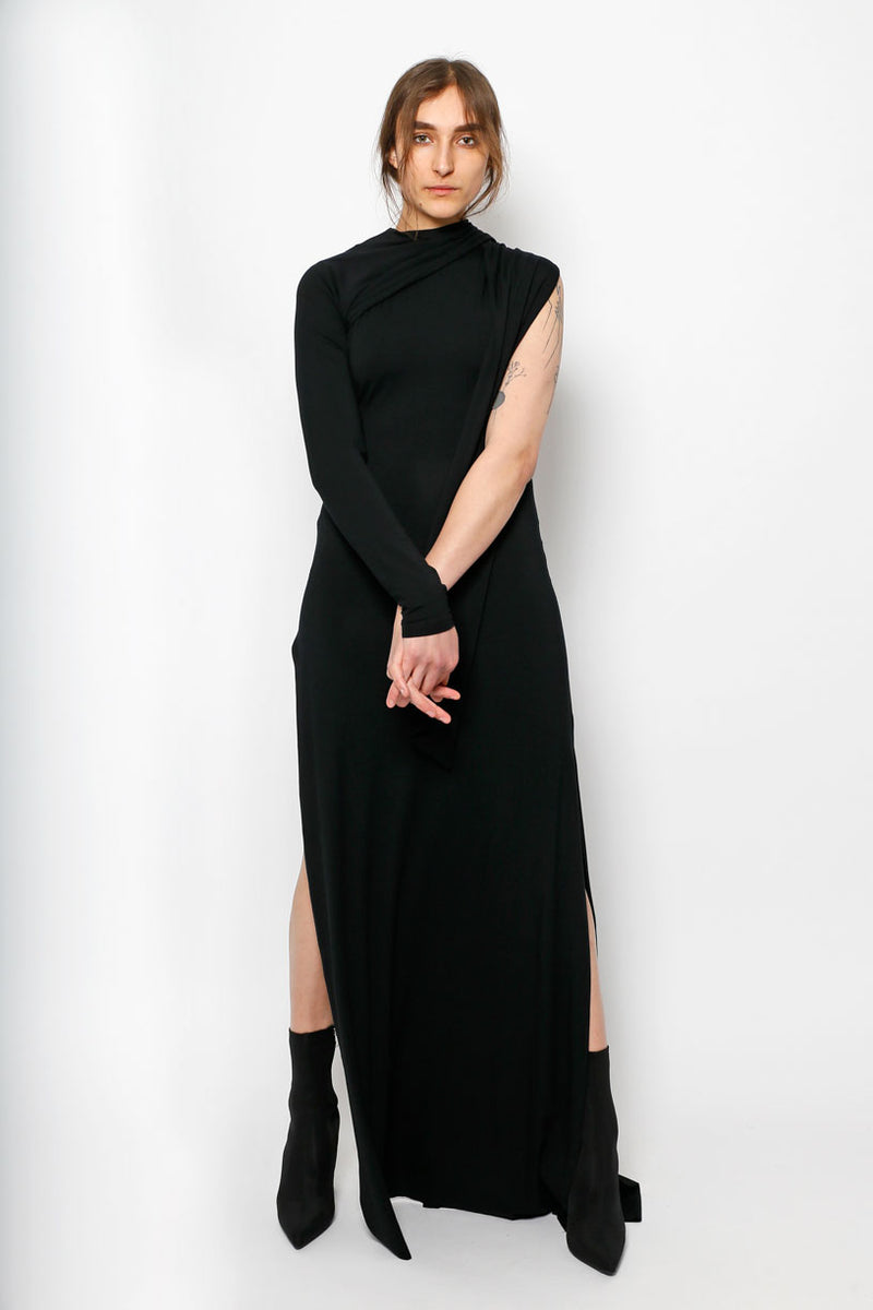 TIE WRAP DRESS BLACK LONG