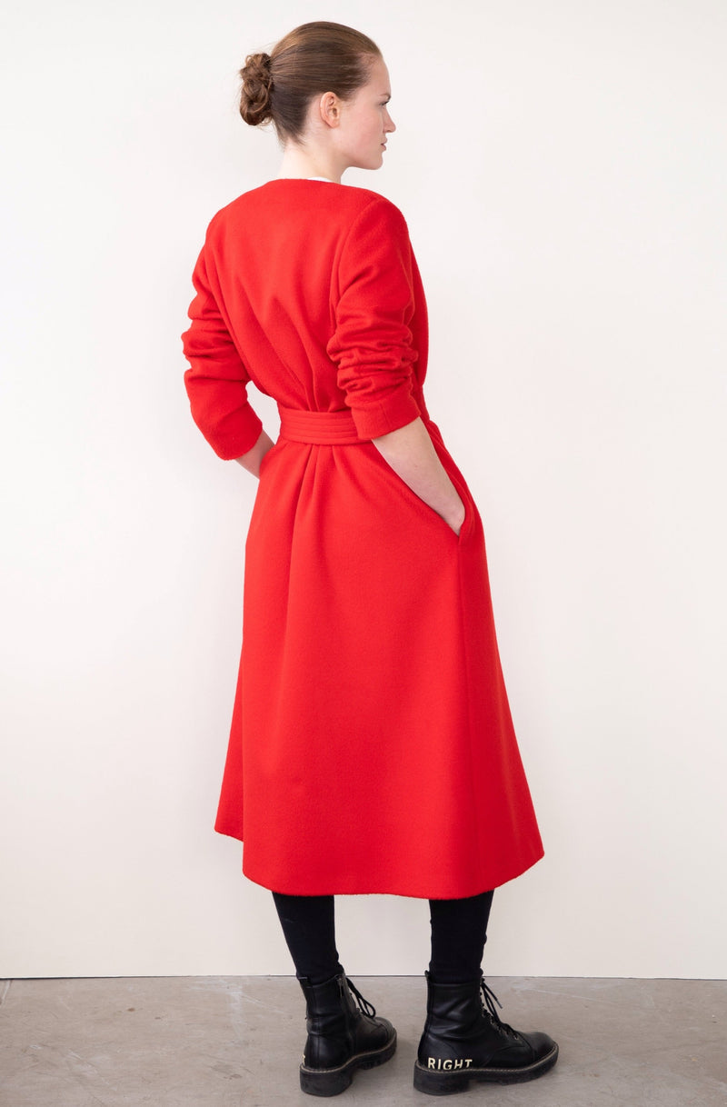 Leeda: coat - RED COAT WITH BELT