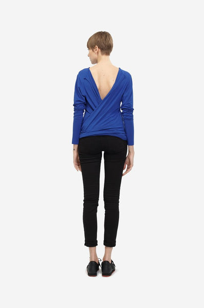 Leeda: top - WRAP BLOUSE WITH LONG SLEEVES