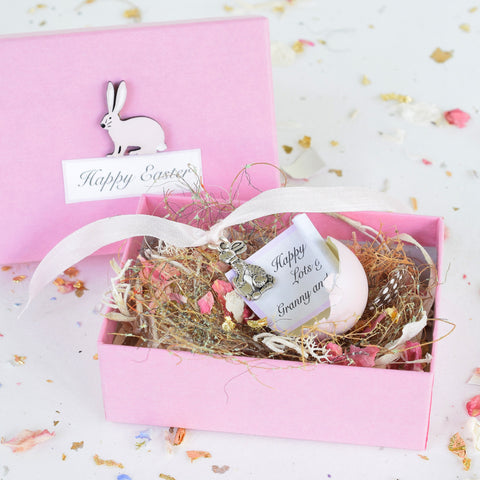 Personalised Pink Easter Real Quail's Egg with Hidden Silver Charm