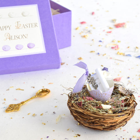 Personalised  Real Lilac Easter Quails Egg On A Nest