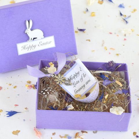 Personalised Lilac Easter Real Quail's Egg with Hidden Silver Charm