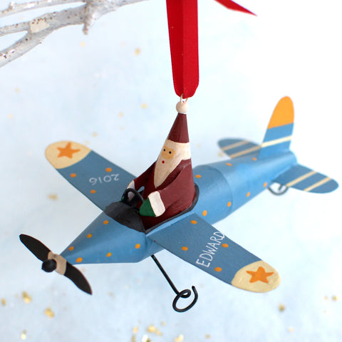 Personalised Santa in a Plane Christmas Decoration