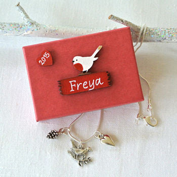 Personalised Christmas Robin Necklace