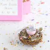 Personalised Pink Easter Real Quails Egg On A Nest