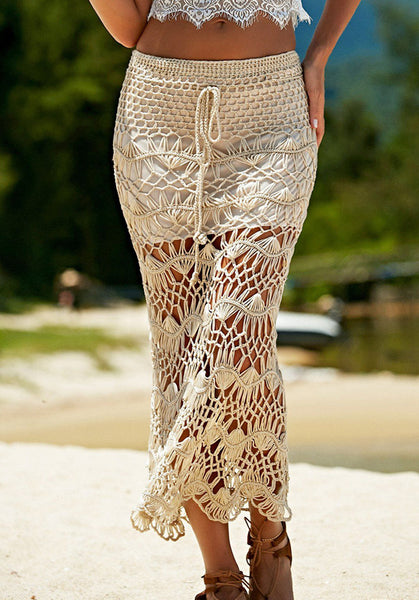 Falda hippie chic larga de crochet - Modelo Beach