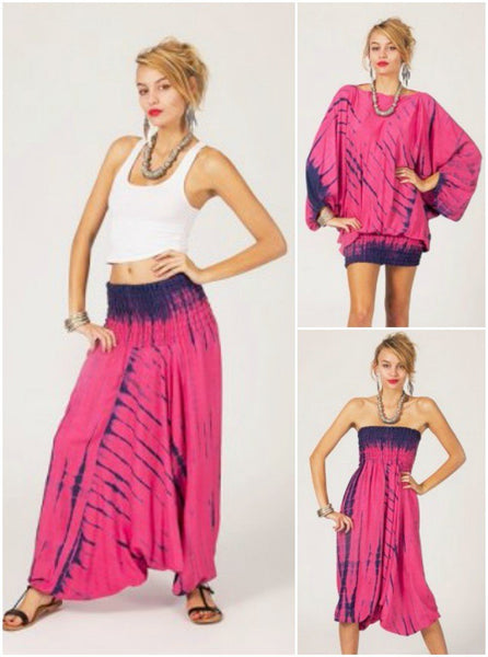 Pantalón hippie bombacho transformable estampado fucsia - India