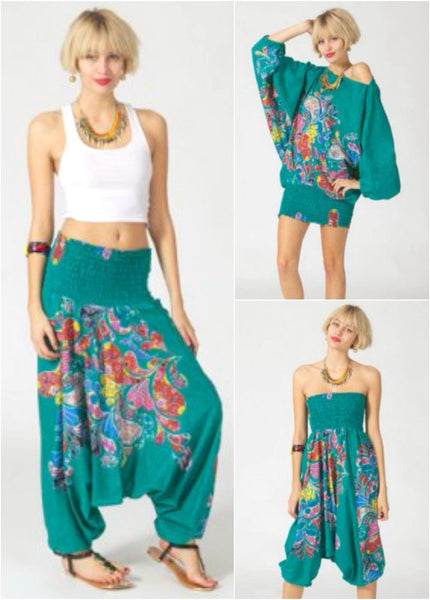 Pantalón hippie bombacho transformable estampado floral verde - India
