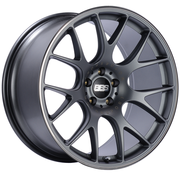 BBS CH-R 19x10.5 5x120 ET25 Satin Titanium Polished Rim Protector Wheel -82mm PFS/Clip Required