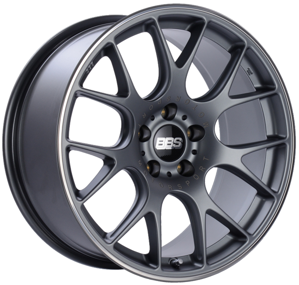 BBS CH-R 19x8.5 5x120 ET32 Satin Titanium Polished Rim Protector Wheel -82mm PFS/Clip Required