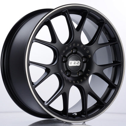 BBS CH-R 19x8.5 5x120 ET32 Satin Black Polished Rim Protector Wheel -82mm PFS/Clip Required