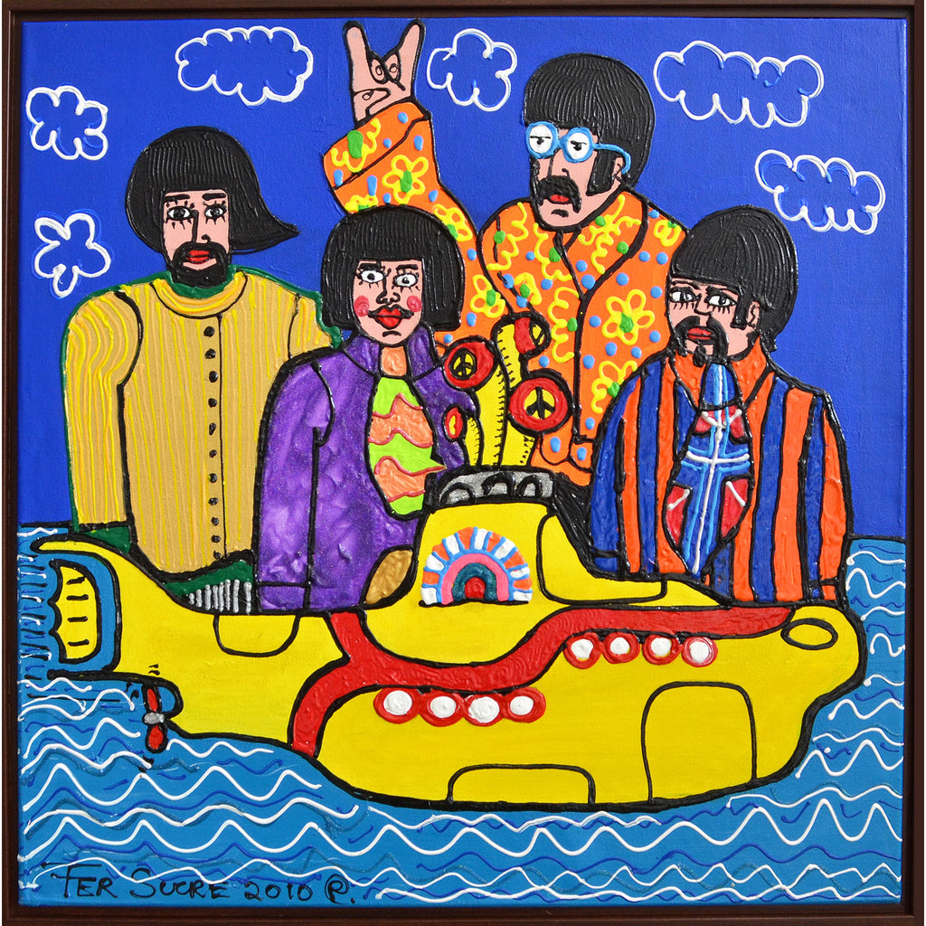 "Beatles and Yellow Submarine Pop Art Painting Technique: Acrylic and Plastic Measurements: 30""x 30"" Year: 2010 Frame: unframed"