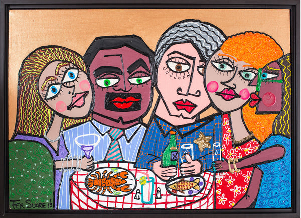 Cinco Amigos painting by Pop Art master Fer Sucre in plastic and acrylic