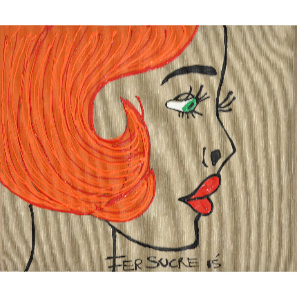 Red Short Hair Woman  Individual Place Mat by Fer Sucre on natural cotton