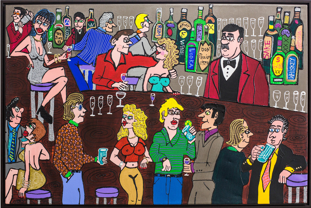 Bar in Brickell Painting by Fernando Sucre, acrylic and plastic