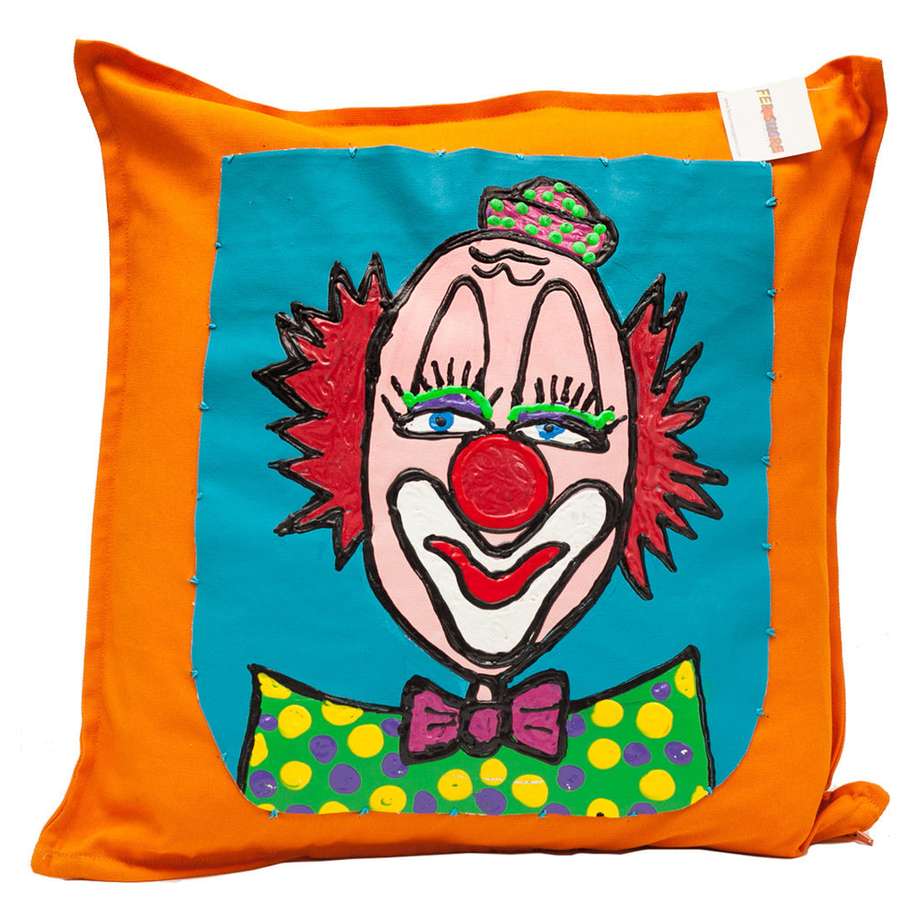 Clown Pillow by Fer Sucre on orange cotton .Design only on front, zipper access,