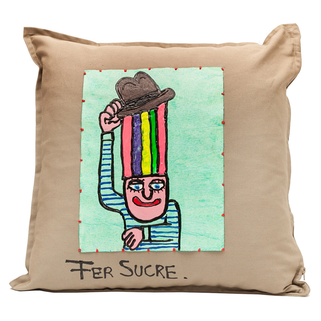 Pillow by Fer Sucre on khaki cotton.Design only on front, zipper access
