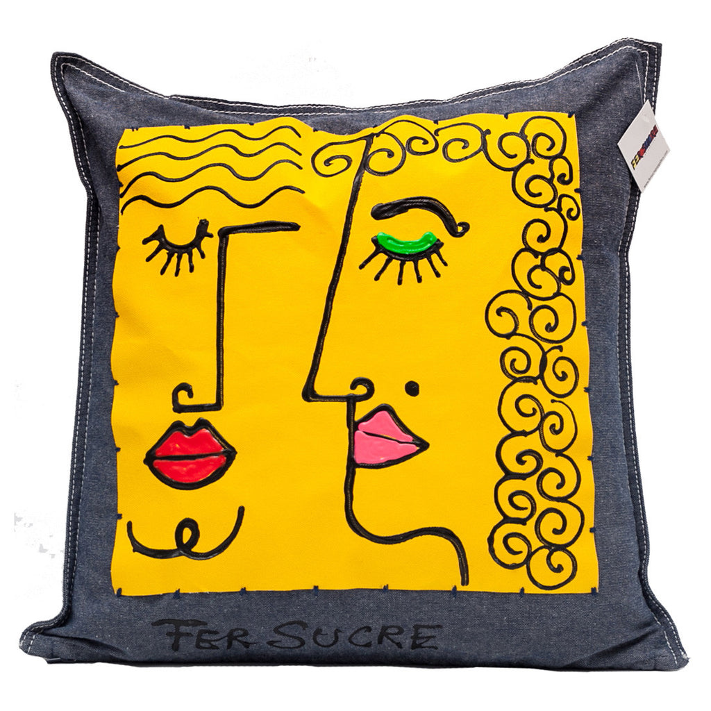 Duo Pillow by Fer Sucre on blue cotton denim  Design on front Technique: Acrylic and Plastic