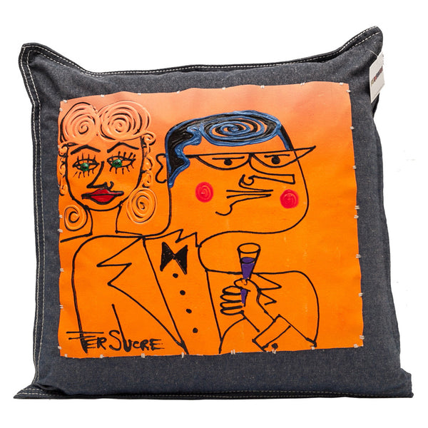 Cheers Couple Pillow painted by Fer Sucre on blue cotton denim
